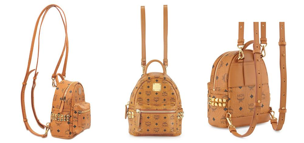 Balo MCM Stark Side Studs Bebe Boo Backpack in Visetos Size X_Mini