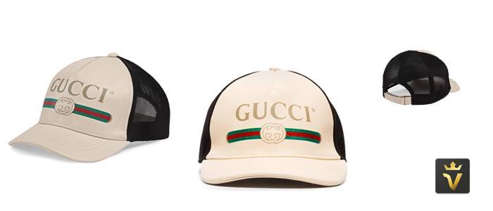 Mua Mũ Gucci Print Leather Baseball Hat Size M, da bê canvas màu trắng đục, Giá tốt