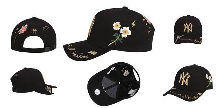 Mua Mũ MLB New York Yankees Adjustable Hat In Black With Flower Pattern, màu đen, giá tốt