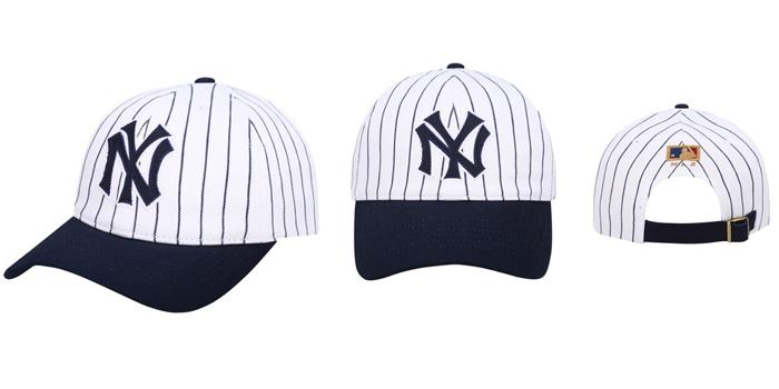 Mua Mũ MLB New York Yankees Coopers Stripe Jersey Ball Cap, màu trắng xanh navy, giá tốt